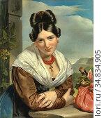 Kruseman Jan Adam - Resting Girl - Dutch School - 19th Century. Редакционное фото, фотограф Artepics / age Fotostock / Фотобанк Лори