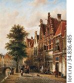 Spohler Johannes Franciscus - Amsterdamse Gracht 1 - Dutch School... Редакционное фото, фотограф Artepics / age Fotostock / Фотобанк Лори