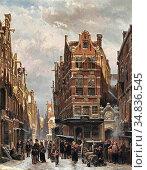 Springer Cornelis - a Winter Street View in the Jewish Quarter in... Редакционное фото, фотограф Artepics / age Fotostock / Фотобанк Лори