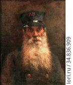Vos Hubert - Portrait of a Chelsea Pensioner - Dutch School - 19th... Редакционное фото, фотограф Artepics / age Fotostock / Фотобанк Лори