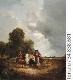 Shayer I William - Gypsies in a Field - British School - 19th Century. Редакционное фото, фотограф Artepics / age Fotostock / Фотобанк Лори