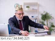 Old king businessman employee at workplace. Стоковое фото, фотограф Elnur / Фотобанк Лори