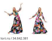 Girl in long flower dress isolated on white. Стоковое фото, фотограф Elnur / Фотобанк Лори