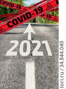 COVID-19 in 2021 is ahead. Стоковая иллюстрация, иллюстратор WalDeMarus / Фотобанк Лори