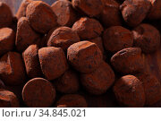 Close up view of chocolate candies truffles. Стоковое фото, фотограф Яков Филимонов / Фотобанк Лори