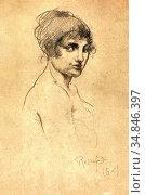 Rassenfosse Armand - Profil De Jeune Femme - Belgian School - 19th... Стоковое фото, фотограф Artepics / age Fotostock / Фотобанк Лори