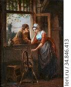 Col Jan David - Begin Van Een Romance - Belgian School - 19th Century. Стоковое фото, фотограф Artepics / age Fotostock / Фотобанк Лори