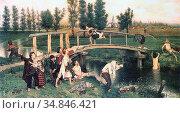 Carpentier Evariste - Bathing Forbidden - Belgian School - 19th Century... Стоковое фото, фотограф Artepics / age Fotostock / Фотобанк Лори