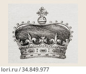 Crown worn by the Prince of Wales. From The National Encyclopaedia... Редакционное фото, фотограф Classic Vision / age Fotostock / Фотобанк Лори