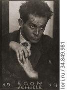 Egon Schiele, 1890 - 1918. Austrian painter. After a 1914 portrait... Редакционное фото, фотограф Classic Vision / age Fotostock / Фотобанк Лори