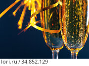 Two glasses of champagne. Стоковое фото, фотограф Иван Михайлов / Фотобанк Лори