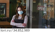 Portrait of Female hairdresser wearing face mask leaning on glass door at hair salon. Стоковое видео, агентство Wavebreak Media / Фотобанк Лори