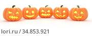 Halloween Jack o Lanterns isolated on a white background. 3d rendering. Стоковая иллюстрация, иллюстратор Евдокимов Максим / Фотобанк Лори