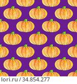 Cute hand drawn pumpkin seamless pattern, hand drawn pumpkins - great as Thanksgiving background, wallpaper, web page background, wrapping paper and etc. Halloween seamless pattern. Endless texture. Стоковая иллюстрация, иллюстратор Nataliia Zhekova / Фотобанк Лори