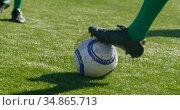Players playing soccer in the field 4k. Стоковое видео, агентство Wavebreak Media / Фотобанк Лори