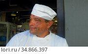 Chef standing at the entrance of bakery shop 4k. Стоковое видео, агентство Wavebreak Media / Фотобанк Лори