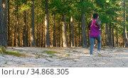 Female athlete jogging in the forest 4k. Стоковое видео, агентство Wavebreak Media / Фотобанк Лори