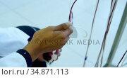 Laboratory technician analyzing blood bags 4k. Стоковое видео, агентство Wavebreak Media / Фотобанк Лори