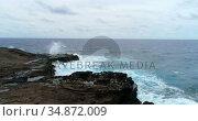 Waves splashing on rocks 4k. Стоковое видео, агентство Wavebreak Media / Фотобанк Лори