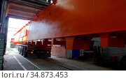 Industrial production plant - the truck takes a piece of lifting crane out of the plant. Стоковое видео, видеограф Константин Шишкин / Фотобанк Лори