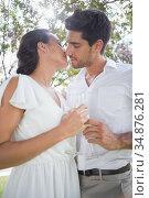Attractive couple drink champagne and kiss. Стоковое фото, агентство Wavebreak Media / Фотобанк Лори