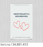 Vector of novel cover with sweethearts and neighbours text. Стоковое фото, агентство Wavebreak Media / Фотобанк Лори