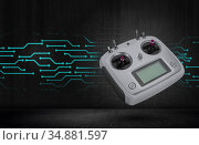 Hobby, radio remote controler. Radio transmitter for controlling model airplanes and quadcopters. rc transmitter. Remote control of the quadcopter. Стоковое фото, фотограф Александр Якимов / Фотобанк Лори