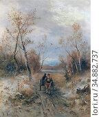 Barbarini Emil - Horse-Drawn Carriage - Austrian School - 19th Century... Редакционное фото, фотограф Artepics / age Fotostock / Фотобанк Лори