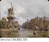Alt Franz - a Canal in Rotterdam - Austrian School - 19th Century. Редакционное фото, фотограф Artepics / age Fotostock / Фотобанк Лори