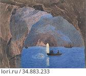 Alt Jacob - Die Blaue Grotte Auf Der Insel Capri - Austrian School... Редакционное фото, фотограф Artepics / age Fotostock / Фотобанк Лори