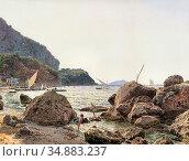 Alt Jacob - Die Grosse Marine Auf Der Insel Capri - Austrian School... Редакционное фото, фотограф Artepics / age Fotostock / Фотобанк Лори