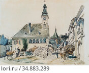 Alt Rudolf Von - Das Rathaus in Mödling 2 - Austrian School - 19th... Редакционное фото, фотограф Artepics / age Fotostock / Фотобанк Лори