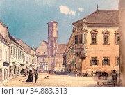 Alt Rudolf Von - Die Pfarrkirche in Ofen - Austrian School - 19th... (2020 год). Редакционное фото, фотограф Artepics / age Fotostock / Фотобанк Лори