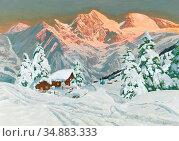 Arnegger Alois - Alpenglow at Ferleiten - Glockner Group - Austrian... Редакционное фото, фотограф Artepics / age Fotostock / Фотобанк Лори