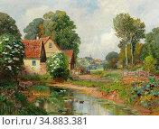 Arnegger Alois - Landschaft Mit Dorf IM Hintergrund - Austrian School... Редакционное фото, фотограф Artepics / age Fotostock / Фотобанк Лори