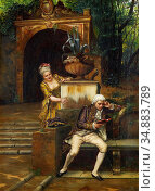Ernst Rudolf - Flirting - Austrian School - 19th Century. Редакционное фото, фотограф Artepics / age Fotostock / Фотобанк Лори