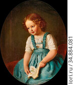 Hollpein Heinrich - Girl Seated Holding a Book - Austrian School - ... Редакционное фото, фотограф Artepics / age Fotostock / Фотобанк Лори
