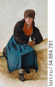 Reinhold Franz Xaver - Peasant Girl Sitting - Austrian School - 19th... Редакционное фото, фотограф Artepics / age Fotostock / Фотобанк Лори