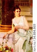 Ruben Franz Leo - Portrait of a Lady with a Green Satin Sash - Austrian... Редакционное фото, фотограф Artepics / age Fotostock / Фотобанк Лори