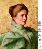 Rumpler Franz - Lady Shown in Profile Against a Golden Background... Редакционное фото, фотограф Artepics / age Fotostock / Фотобанк Лори