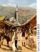 Ruben Franz Leo - View of Bascarsija Sarajevo - Austrian School - ... Редакционное фото, фотограф Artepics / age Fotostock / Фотобанк Лори