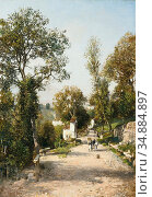 Russ Robert - Landscape in South Tyrol - Austrian School - 19th Century... Редакционное фото, фотограф Artepics / age Fotostock / Фотобанк Лори