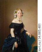 Weidner Joseph - Portrait of a Lady with Roses in Her Hair - Austrian... Редакционное фото, фотограф Artepics / age Fotostock / Фотобанк Лори