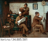 Anker Albert - Bauern Die Zeitung Lesend - Swiss School - 19th Century... Редакционное фото, фотограф Artepics / age Fotostock / Фотобанк Лори