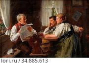 Bachmann Hans - Das Neueste Vom Tage - Swiss School - 19th Century. Редакционное фото, фотограф Artepics / age Fotostock / Фотобанк Лори
