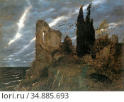 Bocklin Arnold - Ruine Am Meer 1 - Swiss School - 19th Century. Редакционное фото, фотограф Artepics / age Fotostock / Фотобанк Лори