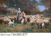 Chialiva Luigi - a Rustic Idyll - Swiss School - 19th Century. Редакционное фото, фотограф Artepics / age Fotostock / Фотобанк Лори