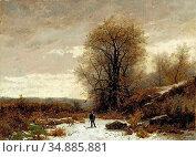 Castan Gustave - Paysage D'hiver Avec Chasseur - Swiss School - 19th... Редакционное фото, фотограф Artepics / age Fotostock / Фотобанк Лори