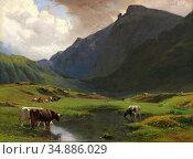 Meuron Albert De - Paysage Alpin Avec Des Vaches Et Des Chèvres - ... Редакционное фото, фотограф Artepics / age Fotostock / Фотобанк Лори
