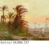 Pilny Otto - Bedouins at an Oasis near Cairo - Swiss School - 19th... Редакционное фото, фотограф Artepics / age Fotostock / Фотобанк Лори